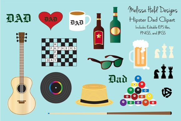 Download Free Hipster Dad Father S Day Clipart Graphic By Melissa Held Designs for Cricut Explore, Silhouette and other cutting machines.