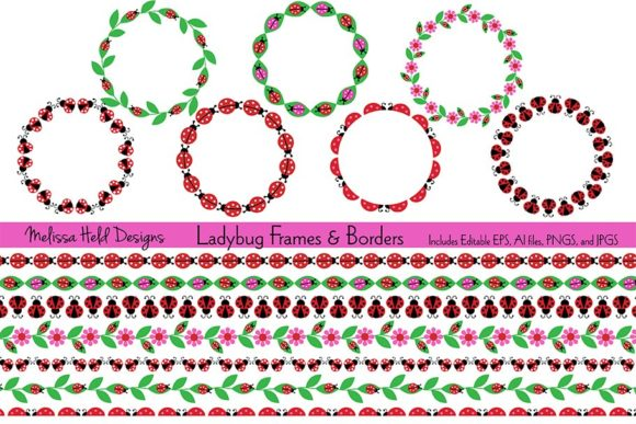 Ladybug Frames & Borders Graphic Patterns By Melissa Held Designs