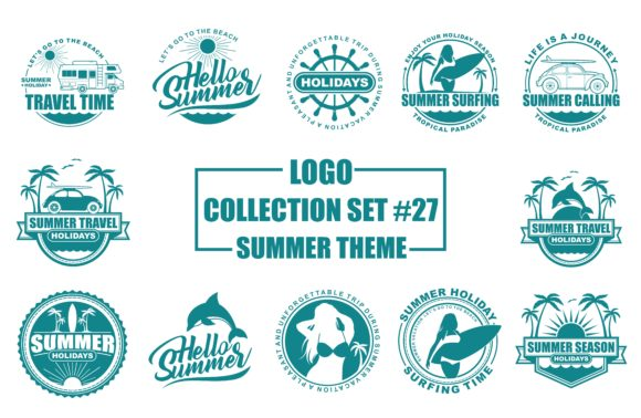 Logo Collection Set Summer Theme Graphic Free Download