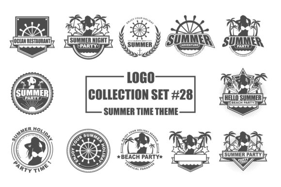 Print on Demand: Logo Collection Set - Summer Time Theme Grafik Logos von azkaryzki
