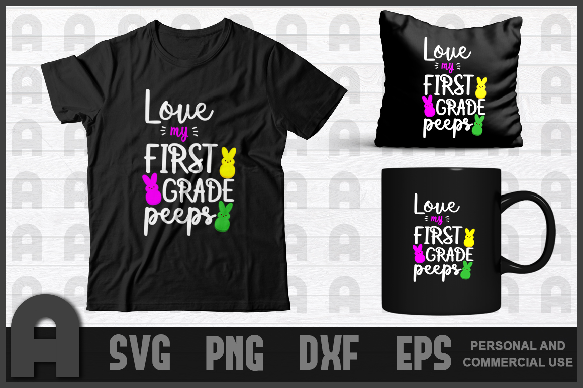 Download Free Love My First Grade Peeps Graphic By Aartstudioexpo Creative for Cricut Explore, Silhouette and other cutting machines.