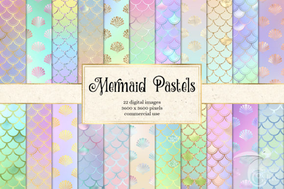 Mermaid Pastels Digital Paper Graphic Textures By Digital Curio