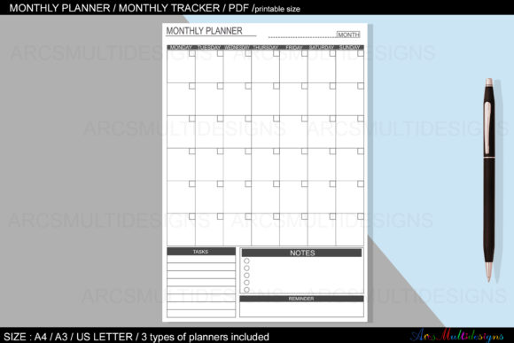 Monthly Planner Printable / Undated Graphic Design