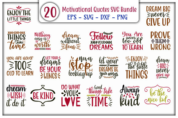 Download Free Motivational Quotes Bundle Graphic By Graphicsbooth Creative for Cricut Explore, Silhouette and other cutting machines.