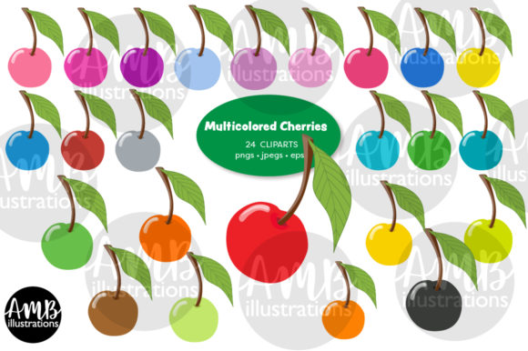 Multi-Colored Cherries Clipart Graphic Illustrations By AMBillustrations