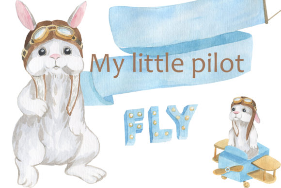 Print on Demand: My Little Pilot -  Rabbit Little Pilot Graphic Illustrations By laffresco04