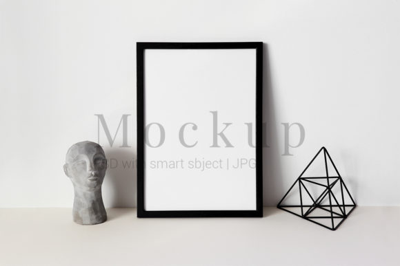 Print on Demand: Photo Frame Mockup,Head,White Background Graphic Product Mockups By PawMockup