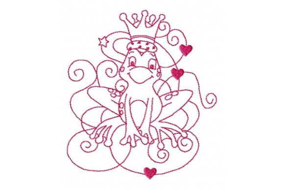 Princess Frog Prince Fairy Tales Embroidery Design By Sue O'Very Designs - Image 1