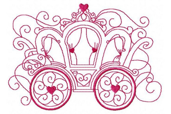 Princess Gorgeous Carriage Fairy Tales Embroidery Design By Sue O'Very Designs