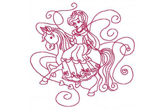 Princess Unicorn Rider Fairy Tales Embroidery Design By Sue O'Very Designs