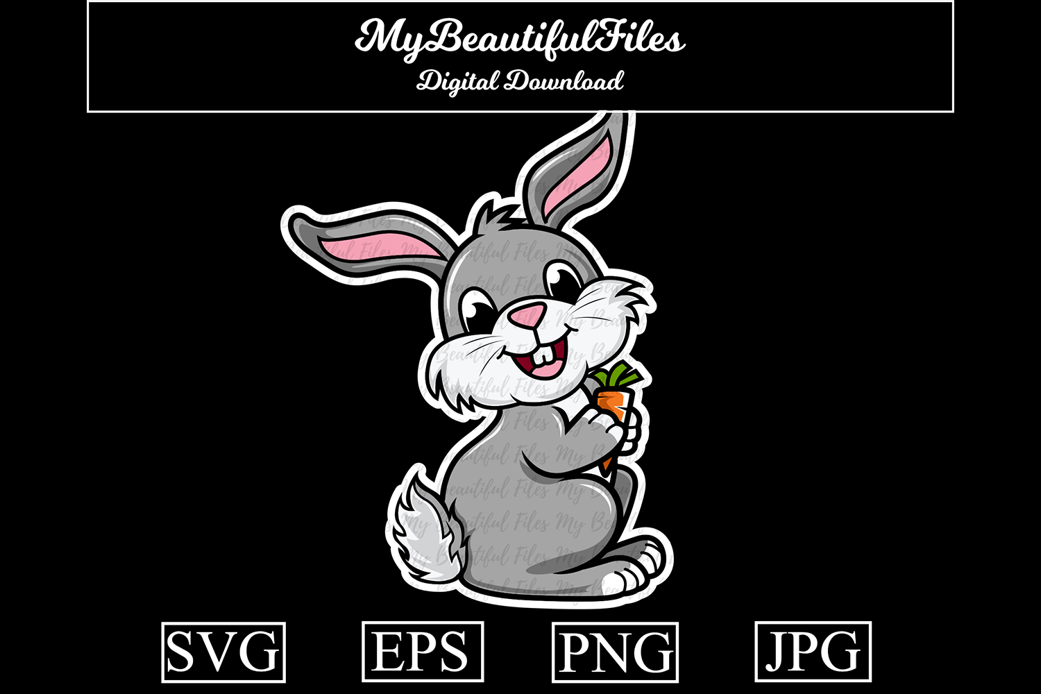 Download Free Rabbit Cartoon Illustration Graphic By Mybeautifulfiles Creative Fabrica for Cricut Explore, Silhouette and other cutting machines.