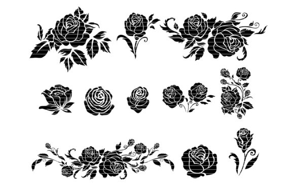 Download Free Rose Silhouette Clip Art Bundle Graphic By Meshaarts Creative for Cricut Explore, Silhouette and other cutting machines.
