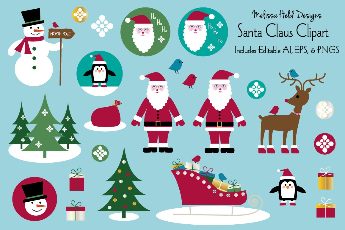 Download Free Santa Claus Vector Clipart Graphics Graphic By Melissa Held SVG Cut Files