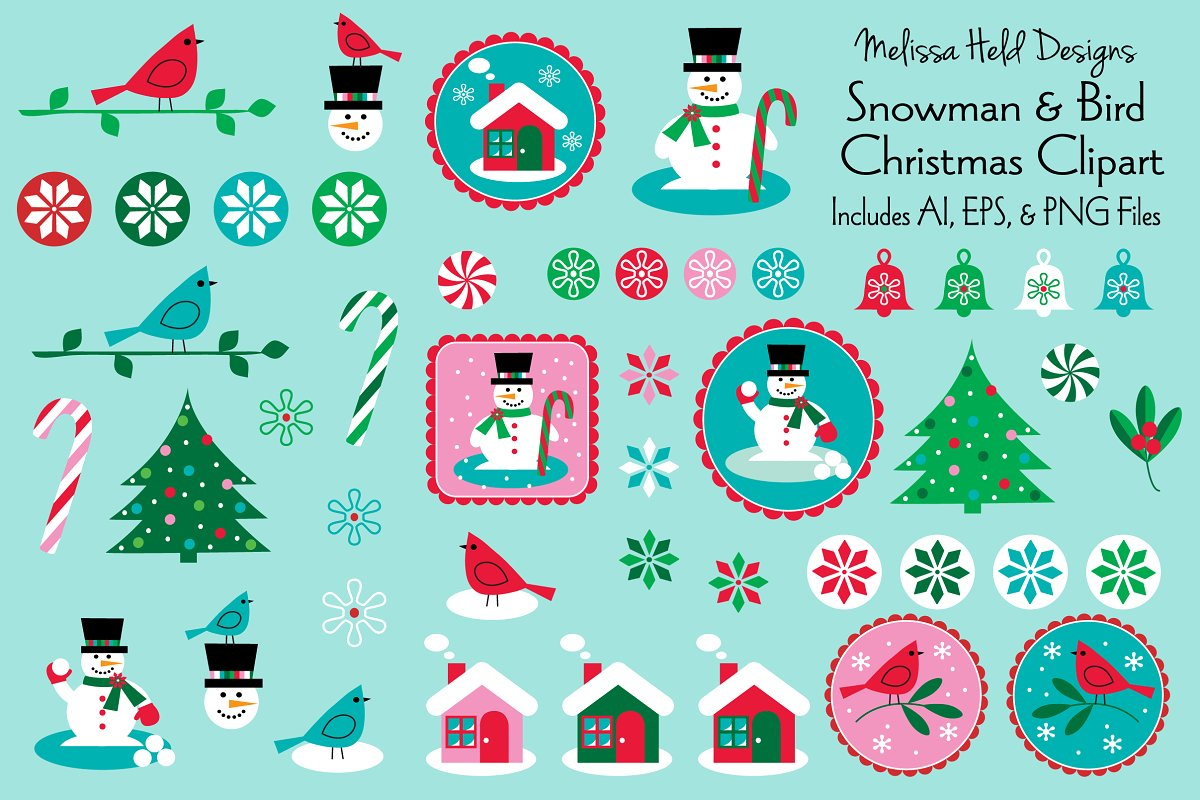 Download Free Snowman Bird Christmas Clipart Snowman Graphic By Melissa Held Designs Creative Fabrica for Cricut Explore, Silhouette and other cutting machines.