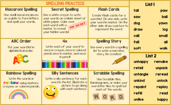 Spelling Choice Board Graphic 2nd grade By hi miss i