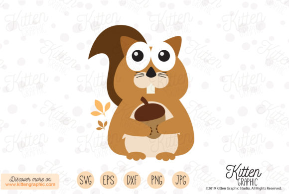 Download Free Squirrel Holding A Nut Graphic By Kittengraphicstudio Creative for Cricut Explore, Silhouette and other cutting machines.