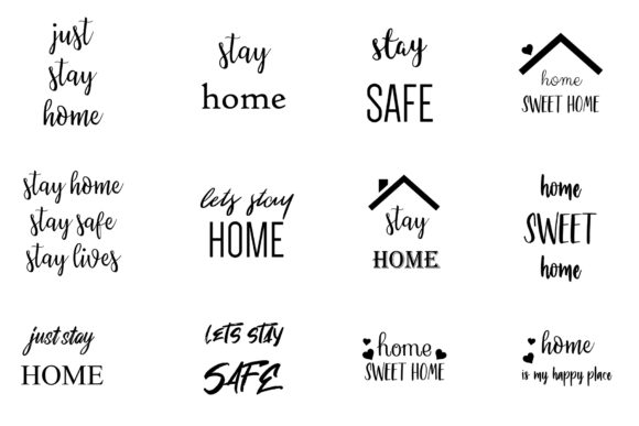 Download Free Stay Home Stay Safe Quotes Bundle Grafico Por Bonadesigns for Cricut Explore, Silhouette and other cutting machines.