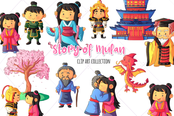 Print on Demand: Story of Mulan Clip Art Collection Grafik Illustrationen von Keepinitkawaiidesign