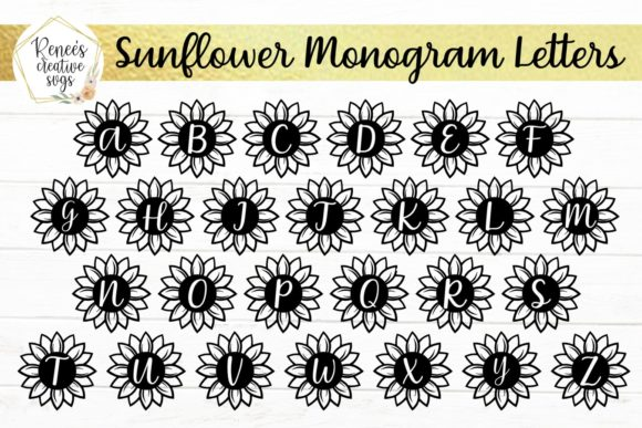 Download Free Sunflower Monogram Letters Graphic By Reneescreativesvgs SVG Cut Files