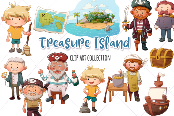 Print on Demand: Treasure Island Clip Art Collection Graphic Illustrations By Keepinitkawaiidesign