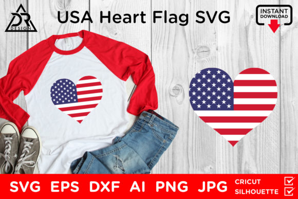 Print on Demand: USA Heart Flag Graphic Crafts By davidrockdesign