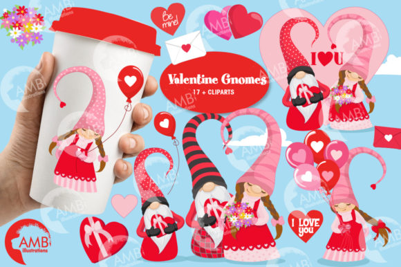Valentines Gnomes Clipart Graphic Illustrations By AMBillustrations