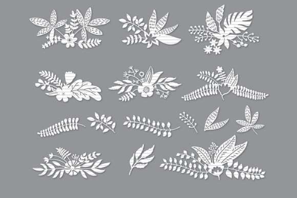 Print on Demand: Vintage Flower Set Silhouette Bundle Graphic Crafts By MeshaArts