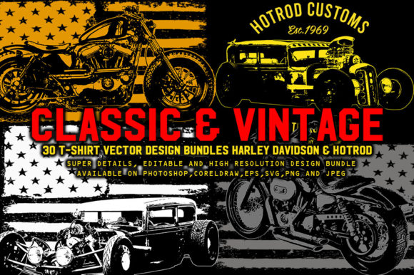 Print on Demand: Vintage Harley & Hotrod Bundle Pack Graphic Illustrations By fluffyartstudio