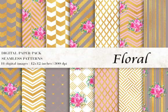 Watercolor Floral Digital Papers Graphic Patterns By BonaDesigns - Image 1