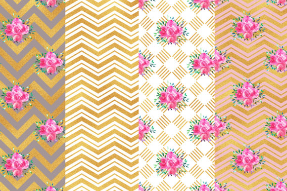 Watercolor Floral Digital Papers Graphic Patterns By BonaDesigns - Image 2