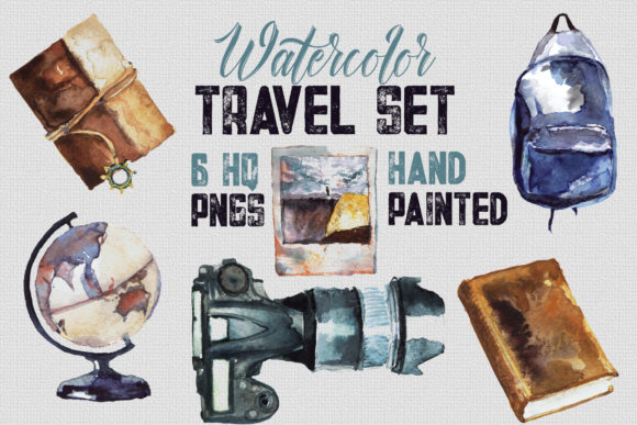 Print on Demand: Watercolor Travel Set, 6 Transparent Graphic Illustrations By WaterflowArt