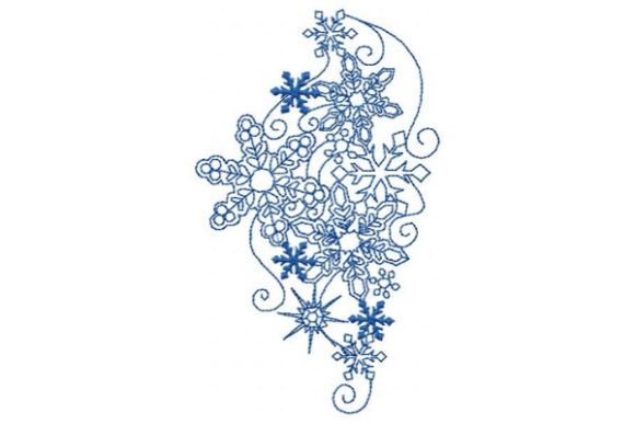 Winter Falling Snowflakes Winter Embroidery Design By Sue O'Very Designs - Image 1