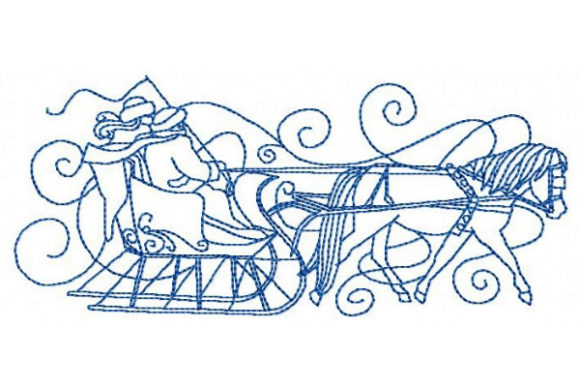 Winter Horse and Sleigh Winter Embroidery Design By Sue O'Very Designs