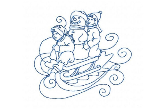 Winter Kids Bobsledding Winter Embroidery Design By Sue O'Very Designs