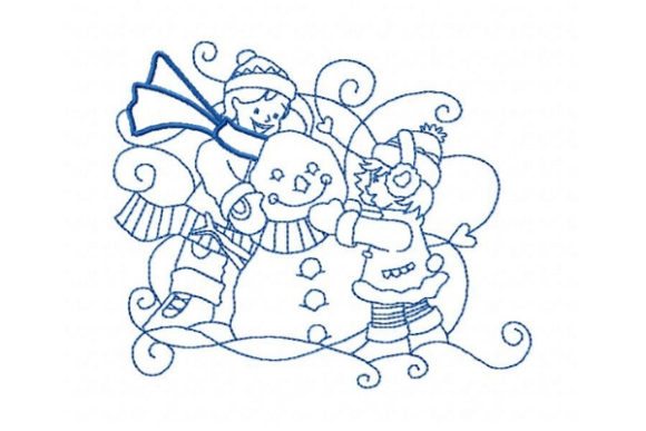 Winter Kids Building a Snowman Embroidery