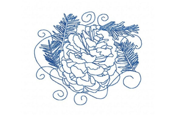 Winter Snow Covered Pinecones Winter Embroidery Design By Sue O'Very Designs