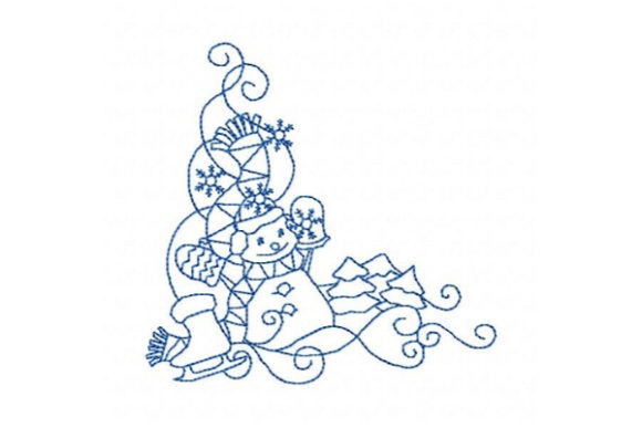 Winter Snowman Corner Design Winter Embroidery Design By Sue O'Very Designs