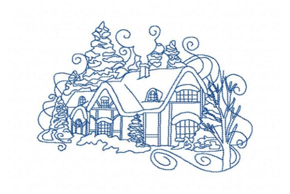 Winter Tucked Away Cabin Embroidery