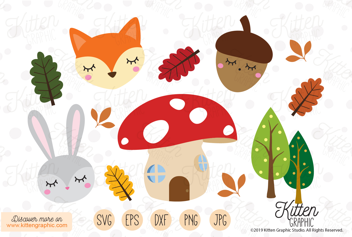 Download Free Woodland Creatures Graphics Graphic By Kittengraphicstudio for Cricut Explore, Silhouette and other cutting machines.