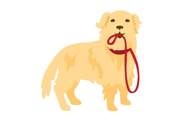Download Free Golden Retriever With Leash In Mouth Svg Cut File By Creative SVG Cut Files
