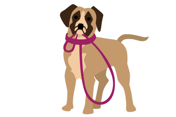 Boxer with with Leash in Mouth Dogs Craft Cut File By Creative Fabrica Crafts