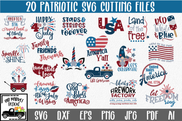 Print on Demand: 4th of July Bundle Gráfico Crafts Por oldmarketdesigns