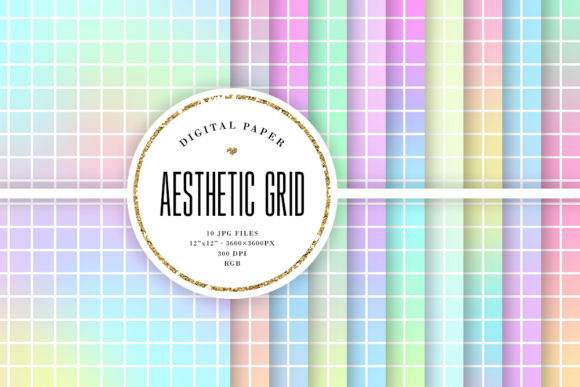 Print on Demand: Aesthetic Grid Vaporwave Backgrounds Graphic Backgrounds By Sabina Leja