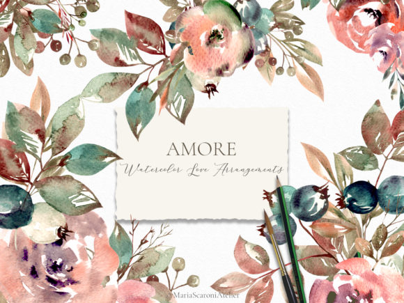 Print on Demand: Amore Watercolor Floral Arrangements Graphic Illustrations By MariaScaroniAtelier