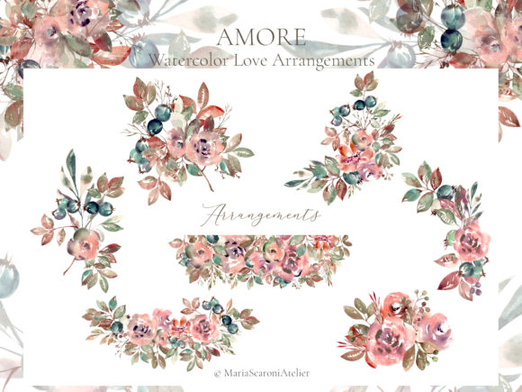 Print on Demand: Amore Watercolor Floral Arrangements Graphic Illustrations By MariaScaroniAtelier - Image 2