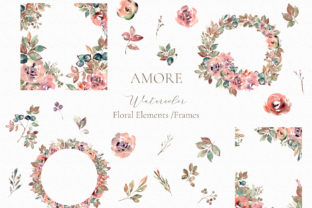 Print on Demand: Amore Watercolor Floral Elements Graphic Illustrations By MariaScaroniAtelier