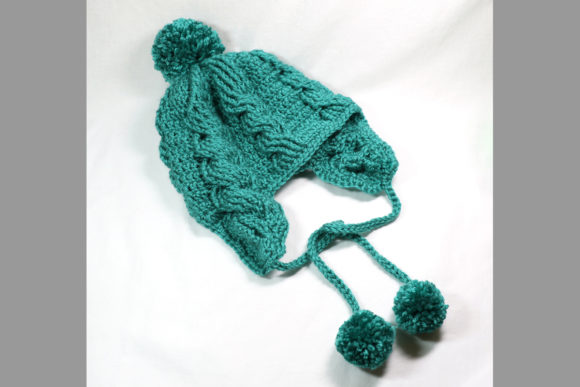 Aspen Cabled Flap Beanie Crochet Pattern Graphic