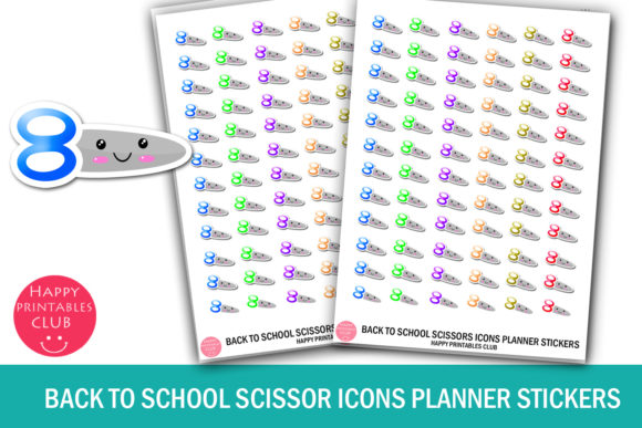 Print on Demand: Back to School Scissor Icons Stickers Graphic Crafts By Happy Printables Club