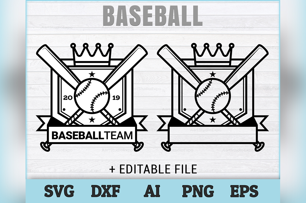 Download Free Baseball Logo Badge Editable Files Graphic By Aartstudioexpo for Cricut Explore, Silhouette and other cutting machines.
