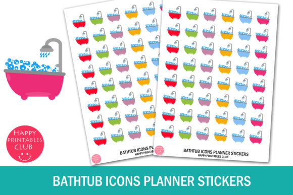 Print on Demand: Bathtub Icons Planner Stickers Cute Graphic Crafts By Happy Printables Club
